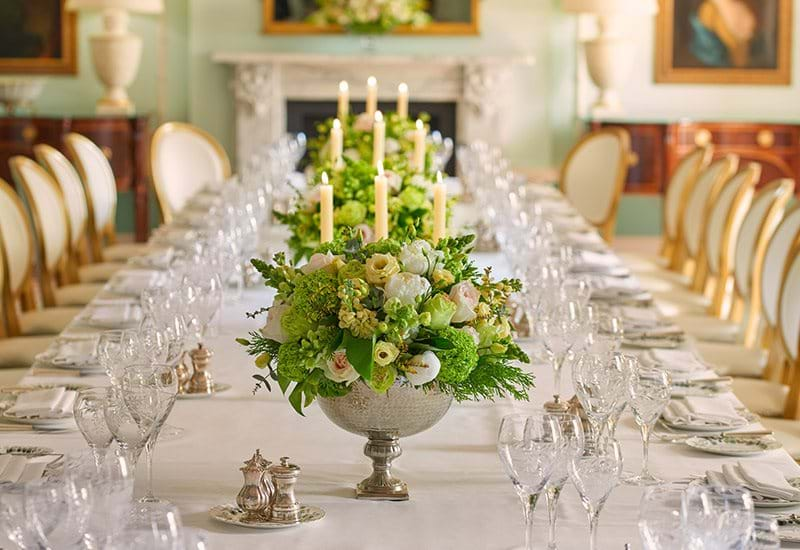 The Lanesborough London The Wellington Dinner Close Up On Table Setting With Crystal Glasswear